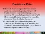 persistence rates