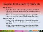 program evaluations by students