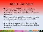 title iii grant award