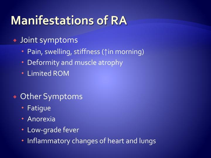 Manifestations of RA