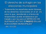 el derecho de sufragio en las elecciones municipales