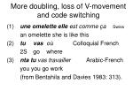 more doubling loss of v movement and code switching