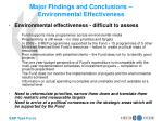 major findings and conclusions environmental effectiveness