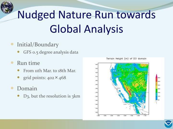 Nudged Nature Run towards Global Analysis
