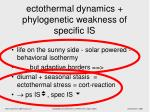 ectothermal dynamics phylogenetic weakness of specific is