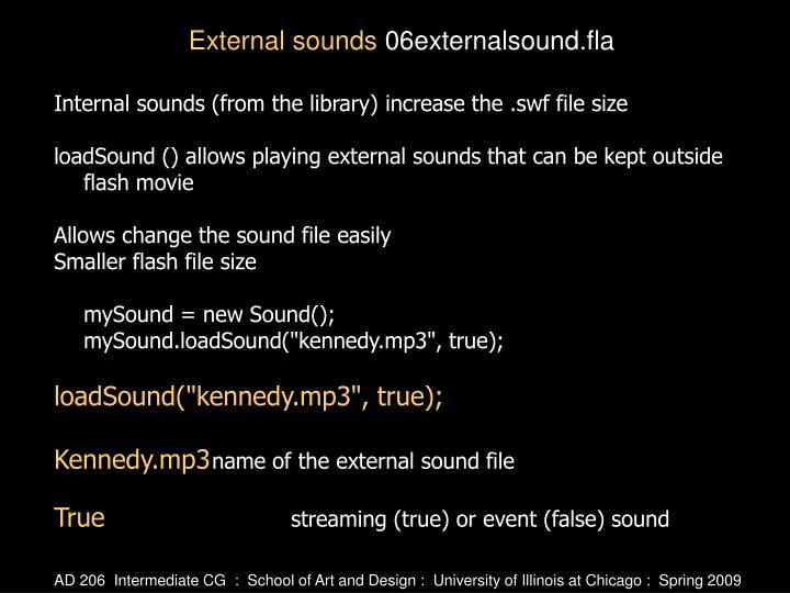 Internal sounds (from the library) increase the .swf file size