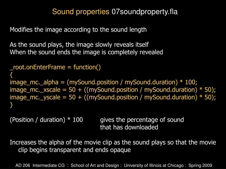 Modifies the image according to the sound length
