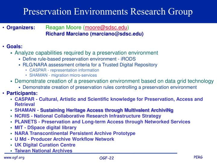 preservation environments research group n.
