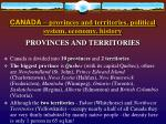 canada provinces and territories political system economy history