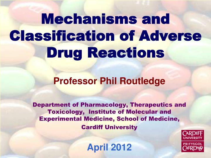 mechanisms and classification of adverse drug reactions n.