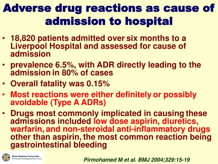 Adverse drug reactions as cause of admission to hospital