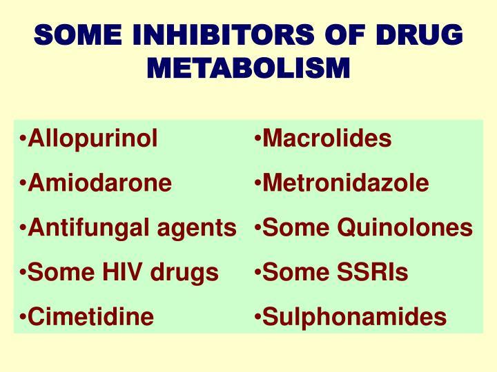 SOME INHIBITORS OF DRUG METABOLISM
