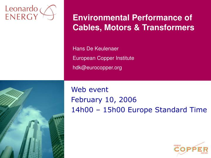 environmental performance of cables motors transformers n.