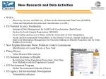 new research and data activities