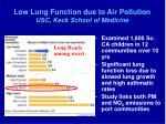low lung function due to air pollution usc keck school of medicine