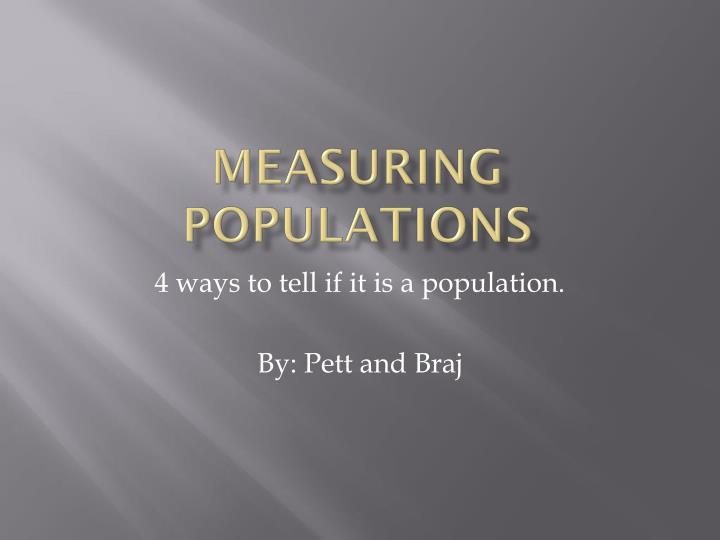measuring populations n.