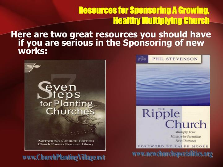 resources for sponsoring a growing healthy multiplying church n.