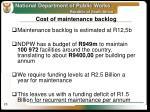 cost of maintenance backlog