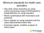 minimum standards for health care providers