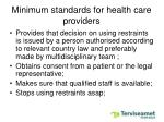 minimum standards for health care providers1