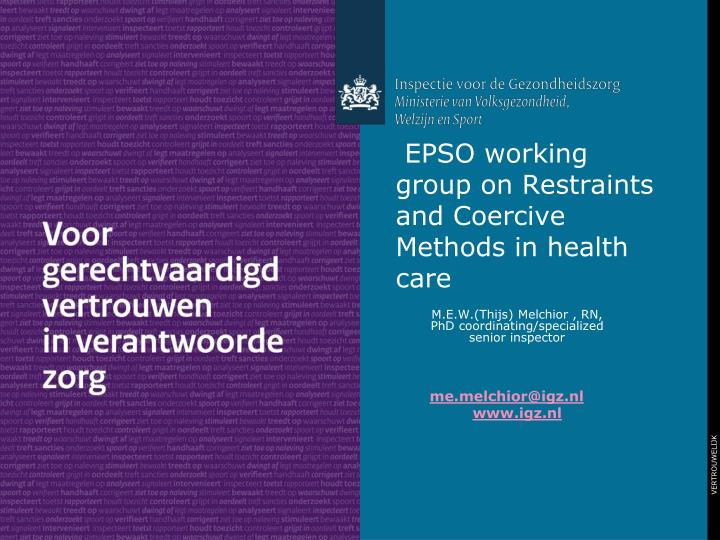 epso working group on restraints and coercive methods in health care n.