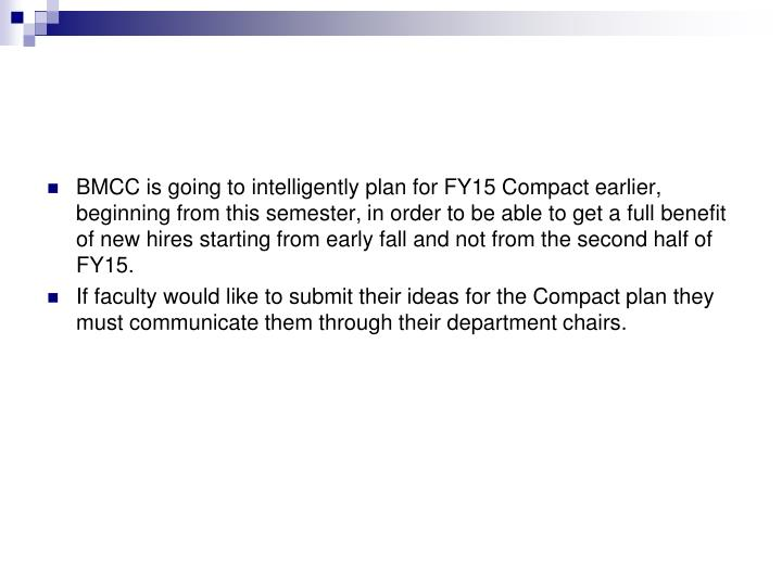 BMCC is going to intelligently plan for FY15 Compact earlier, beginning from this semester, in order to be able to get a full benefit of new hires starting from early fall and not from the second half of FY15.