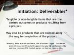 initiation deliverables