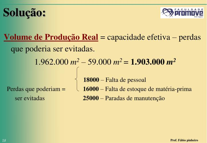 Volume de Produção Real
