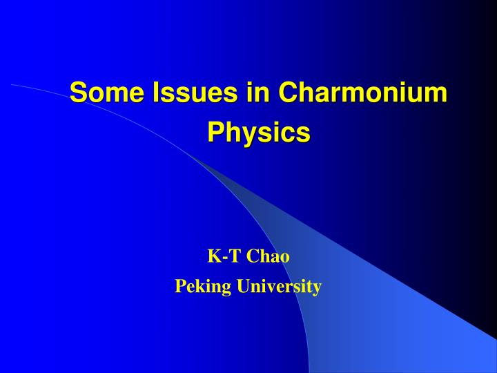 some issues in charmonium physics n.