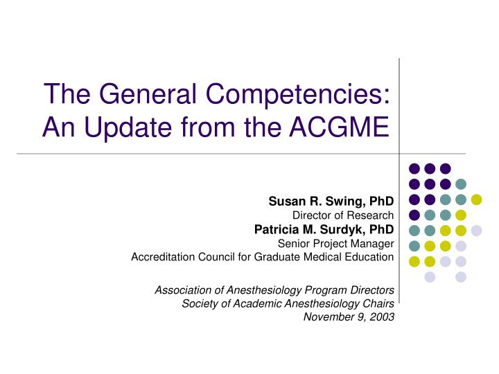 the general competencies an update from the acgme n.
