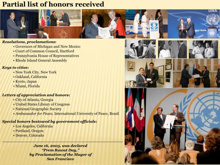 Partial list of honors received
