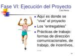 fase vi ejecuci n del proyecto