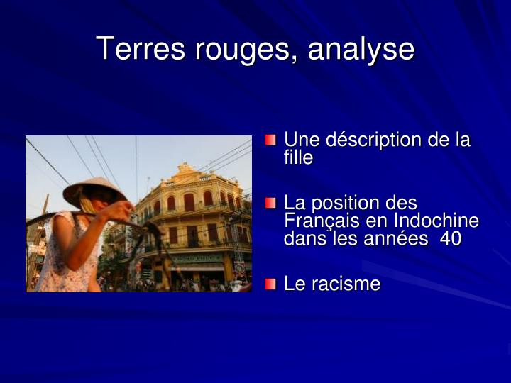 Terres rouges, analyse