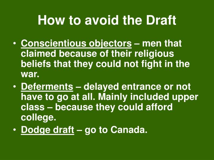 How to avoid the Draft