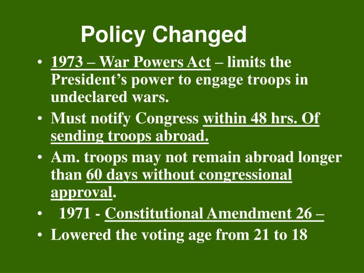 Policy Changed