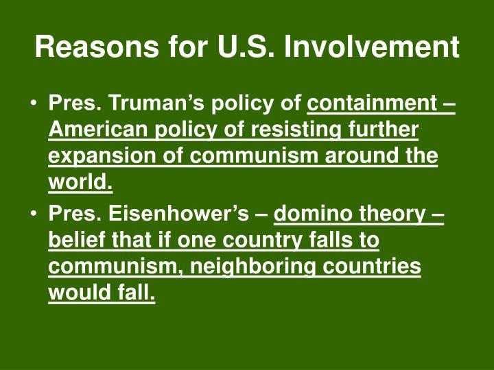 Reasons for U.S. Involvement