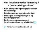 hen imod markedsorientering enterprising culture