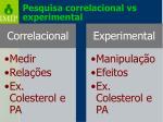 pesquisa correlacional vs experimental