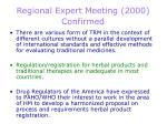 regional expert meeting 2000 confirmed