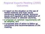 regional experts meeting 2000 outcomes