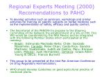 regional experts meeting 2000 recomendations to paho