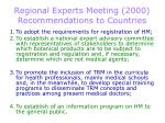 regional experts meeting 2000 recommendations to countries