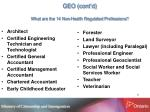 geo cont d what are the 14 non health regulated professions