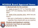 nchsaa board approved items