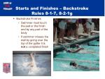 starts and finishes backstroke rules 8 1 7 8 2 1g