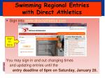 swimming regional entries with direct athletics