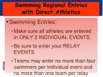 swimming regional entries with direct athletics4
