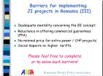 barriers for implementing ji projects in romania iii