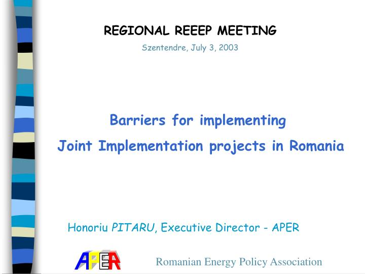 PPT - Barriers for implementing Joint Implementation