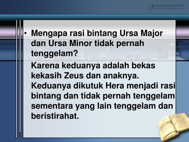 Mengapa rasi bintang Ursa Major dan Ursa Minor tidak pernah tenggelam?